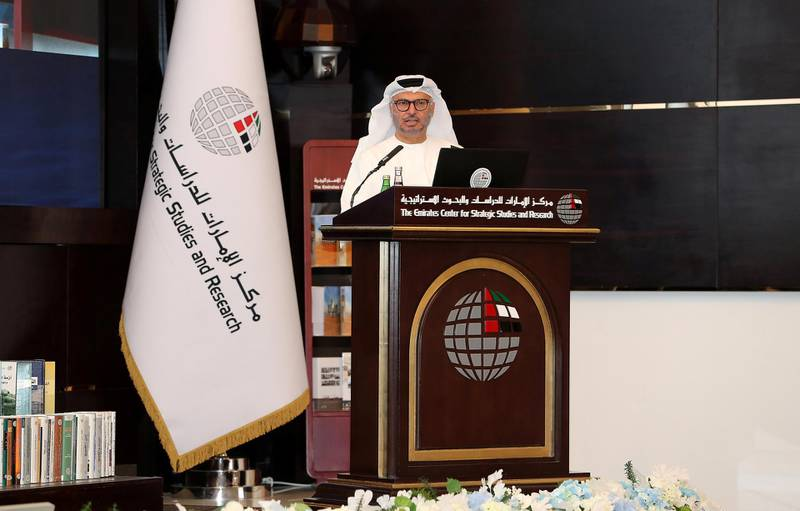 ABU DHABI, UNITED ARAB EMIRATES , Feb 24  – 2020 :- Dr. Anwar bin Mohammed Gargash, Minister of State for Foreign Affairs, United Arab Emirates speaking during the Gulf Security Symposium held at The Emirates Centre for Strategic Studies and Research in Abu Dhabi. (Pawan  Singh / The National) For News/Online.  Story by Daniel