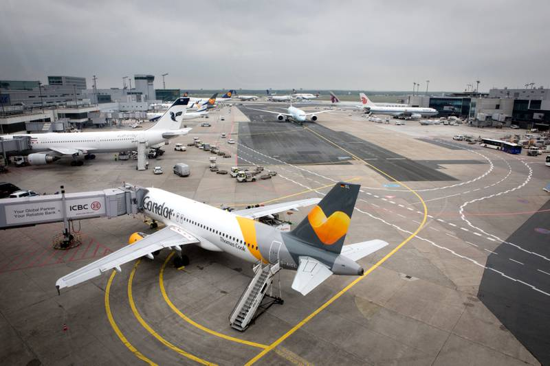 A Condor Boeing 767 attached to a jet bridge at Frankfurt Airport, in May 2017.   usage worldwide Photo by: Frank Duenzl/picture-alliance/dpa/AP Images