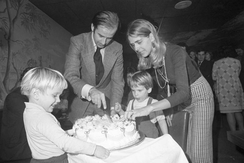 Senator-elect Joseph Biden and wife Nelia cut his 30th birthday cake at a party in Wilmington, November 20th. His son, Hunter waits for the first piece. Biden by becoming 30 fulfills the constitutional requirement of Senators being 30 years of age when they take office. Getty Images