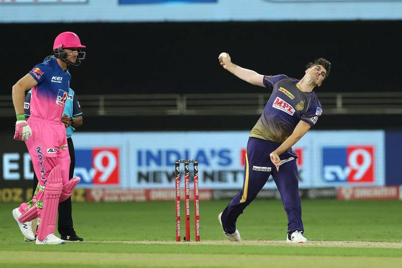 Pat Cummins of Kolkata Knight Riders during match 12 of season 13 of the Dream 11 Indian Premier League (IPL) between the Rajasthan Royals and the Kolkata Knight Riders held at the Dubai International Cricket Stadium, Dubai in the United Arab Emirates on the 30th September 2020.  Photo by: Ron Gaunt  / Sportzpics for BCCI