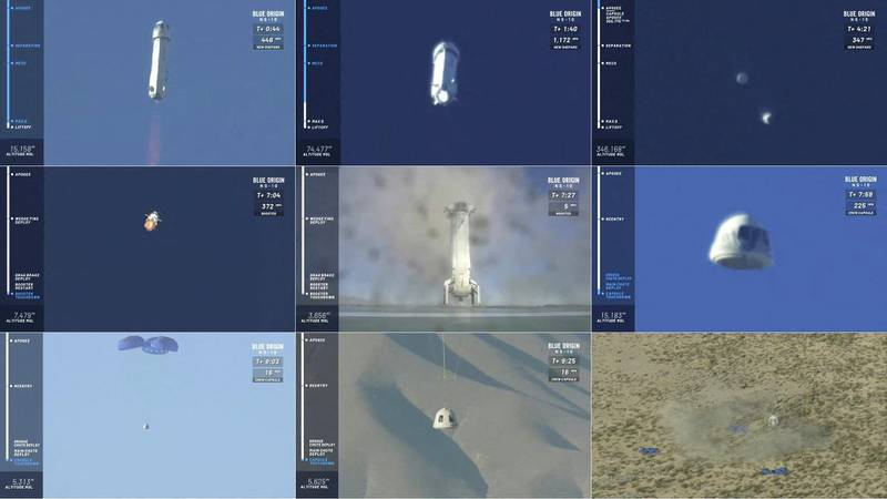 """(COMBO) This combination of pictures created on January 23, 2019 shows from top to bottom video grabs of the 10th test flight launch of Blue Origin's new Shepard rocket on January 23, 2019 in the West Texas desert. - With an eye to launching the first tourists to space by year's end, Blue Origin, the rocket company owned by Amazon CEO Jeff Bezos, blasted off the 10th test flight of its New Shepard rocket on Wednesday. The rocket, carrying no people on board but eight science experiments for NASA, soared skyward from a launchpad in west Texas at 1508 GMT against a clear blue sky.A few minutes into the flight, the capsule separated as planned from the booster and reached its peak height of 66 miles (106 kilometers). (Photos by HO / BLUE ORIGIN / AFP) / RESTRICTED TO EDITORIAL USE - MANDATORY CREDIT """"AFP PHOTO / BLUE ORIGIN/HANDOUT"""" - NO MARKETING NO ADVERTISING CAMPAIGNS - DISTRIBUTED AS A SERVICE TO CLIENTS"""