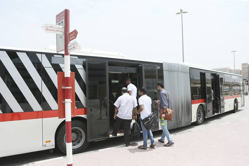 Dubai , UNITED ARAB EMIRATES. July 25, 2015  - Stock photograph of people boarding RTA buses at the Ibn Battuta bus terminal in Dubai, July 25, 2015. (Photo by: Sarah Dea/The National, Story by: STANDALONE, STOCK) *** Local Caption ***  SDEA250715-STOCK_bus14.JPG