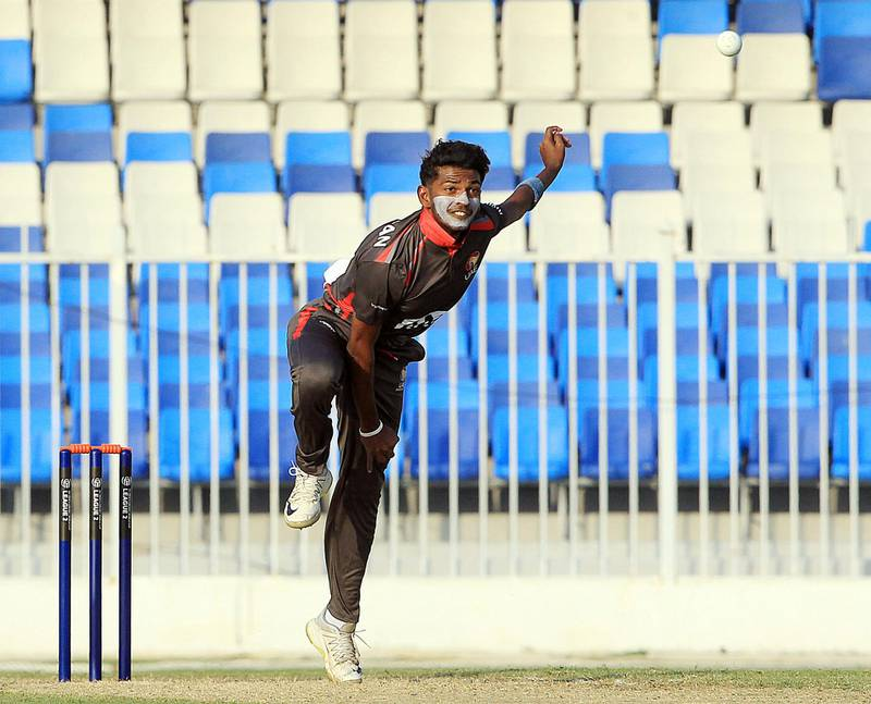 Sharjah, December, 08 2019: Karthik Meiyappan of UAE in action against USA during the ICC Men's Cricket World Cup League 2 match at the Sharjah Cricket Stadium in Sharjah . Satish Kumar/ For the National / Story by Paul Radley