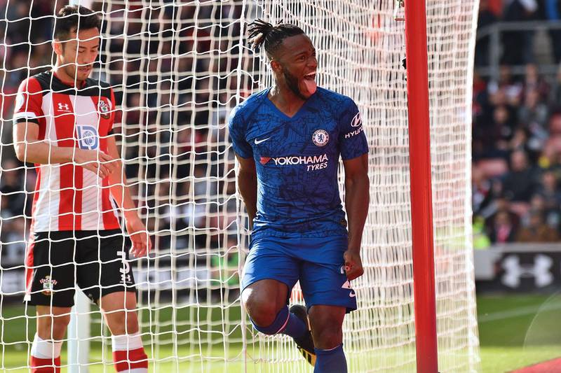Chelsea's Belgian striker Michy Batshuayi celebrates after scoring their fourth goal during the English Premier League football match between Southampton and Chelsea at St Mary's Stadium in Southampton, southern England on October 6, 2019. Chelsea won the game 4-1. - RESTRICTED TO EDITORIAL USE. No use with unauthorized audio, video, data, fixture lists, club/league logos or 'live' services. Online in-match use limited to 120 images. An additional 40 images may be used in extra time. No video emulation. Social media in-match use limited to 120 images. An additional 40 images may be used in extra time. No use in betting publications, games or single club/league/player publications.  / AFP / Glyn KIRK                           / RESTRICTED TO EDITORIAL USE. No use with unauthorized audio, video, data, fixture lists, club/league logos or 'live' services. Online in-match use limited to 120 images. An additional 40 images may be used in extra time. No video emulation. Social media in-match use limited to 120 images. An additional 40 images may be used in extra time. No use in betting publications, games or single club/league/player publications.