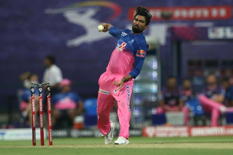 Rahul Tewatia of Rajasthan Royals  bowls during match 20 of season 13 of the Dream 11 Indian Premier League (IPL) between the Mumbai Indians and the Rajasthan Royals at the Sheikh Zayed Stadium, Abu Dhabi  in the United Arab Emirates on the 6th October 2020.  Photo by: Pankaj Nangia  / Sportzpics for BCCI