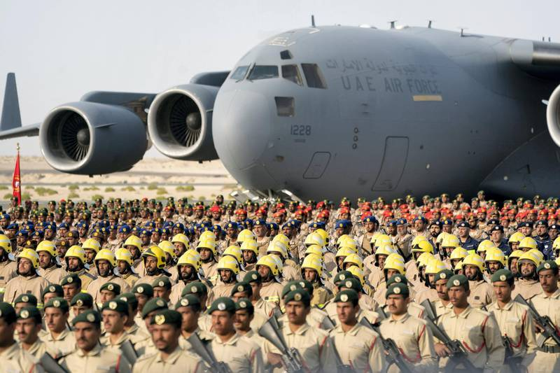 SWEIHAN, ABU DHABI, UNITED ARAB EMIRATES - February 09, 2020: Military personnel participate in a parade during a reception to celebrate and honor members of the UAE Armed Forces who served in the Arab coalition in Yemen, at Zayed Military City.  ( Eissa Al Hammadi for the Ministry of Presidential Affairs ) ---