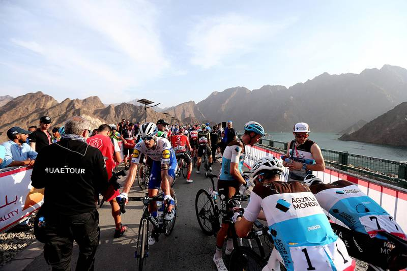 HATTA, February, 24, 2020: Cyclist after the finish line of  the second stage during the UAE Tour 2020 race in Hatta  . Satish Kumar/ For the National/  Story Amit Pasella
