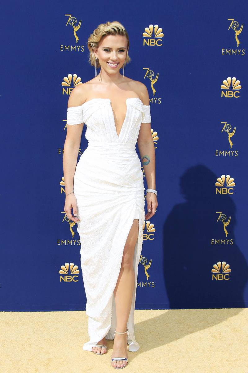 epa07028254 Scarlett Johansson arrives for the 70th annual Primetime Emmy Awards ceremony held at the Microsoft Theater in Los Angeles, California, USA, 17 September 2018. The Primetime Emmys celebrate excellence in national prime-time television programming.  EPA-EFE/NINA PROMMER