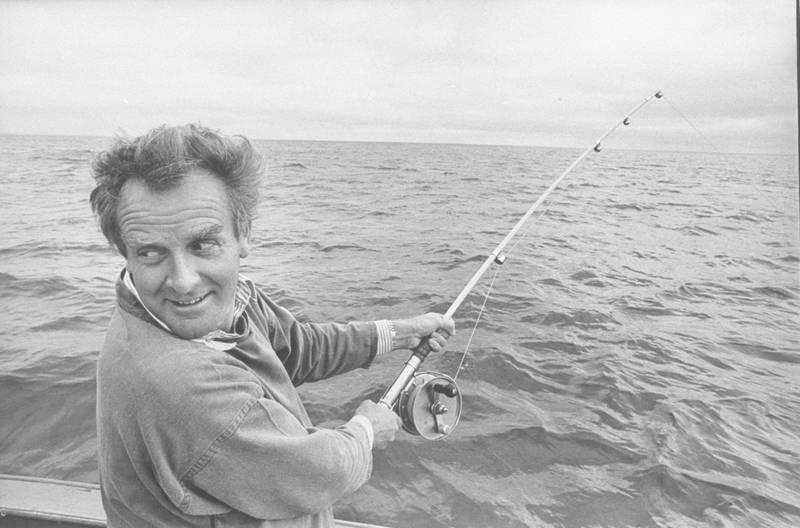 Author David Cornwell, shark fishing.  (Photo by Ben Martin/Getty Images)