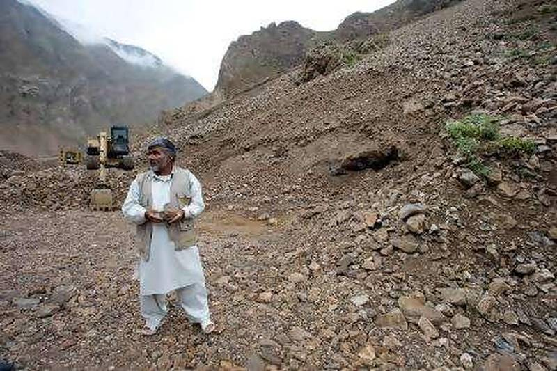 Gul Rayhan Waziri heads the team of geologists that has discovered more than a billion tonnes of iron ore in Panjshir province, north of Kabul. Here he stands at one of the team's work sites. Credit: Chris Sands/The National