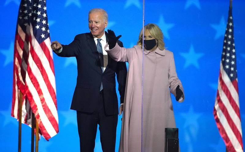epa08797582 Democratic Candidate and former Vice President Joe Biden speaks as he stands with Dr. Jill Biden at his Election Night event at the Chase Center in Wilmington, Delaware, USA, 03 November 2020. Americans vote on Election Day to choose the next President of the United States to serve from 2021 through 2024.  EPA-EFE/JIM LO SCALZO