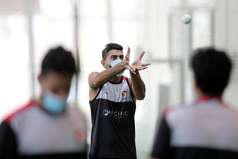 Dubai, United Arab Emirates - Reporter: Paul Radley. Sport.  Captain Ahmed Raza. The UAE cricket team are back at training at the ICC academy after the government have eased restrictions due to Coivd-19/Coronavirus. Sunday, June 7th, 2020. Dubai. Chris Whiteoak / The National