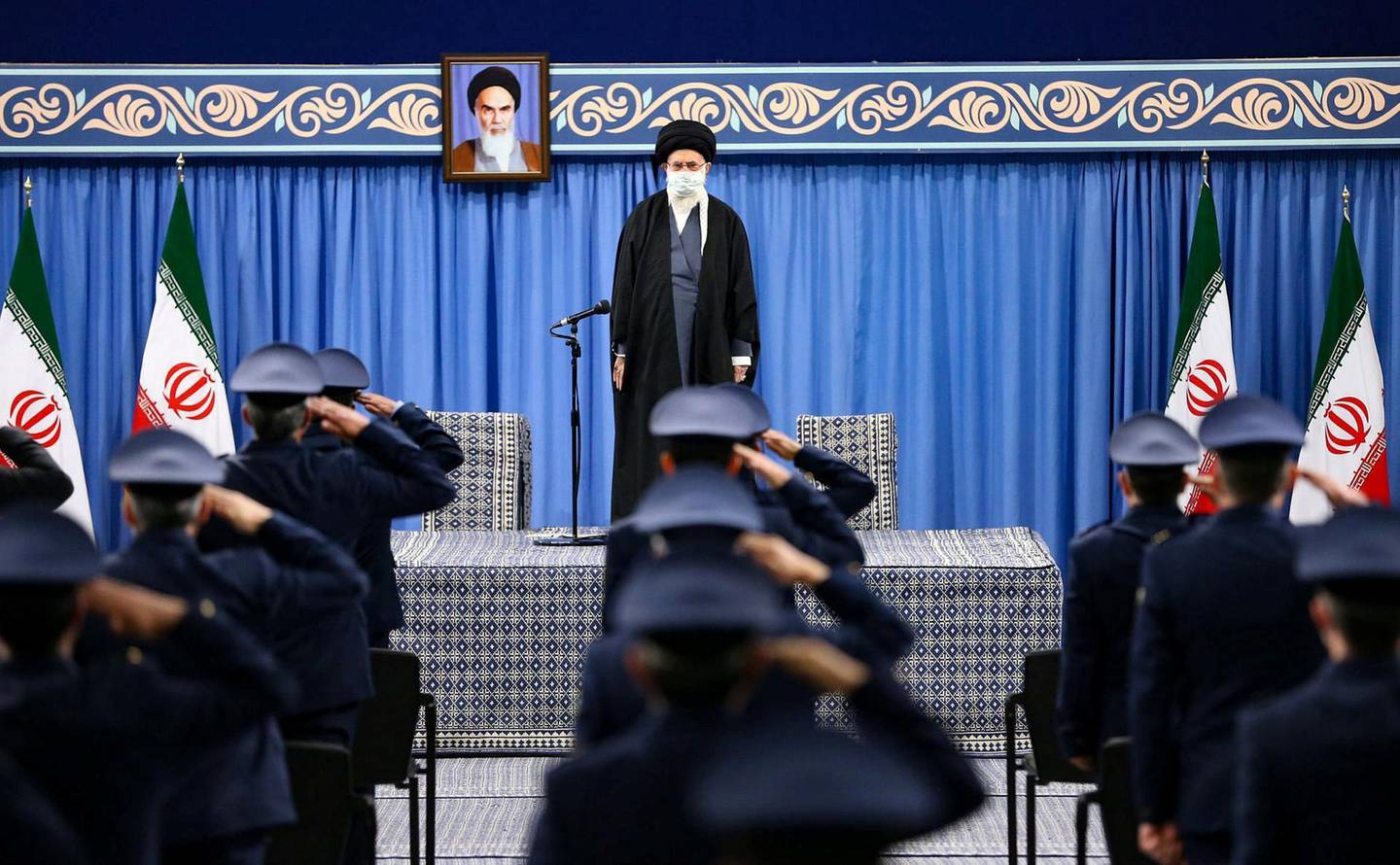 """A handout picture provided by the office of Iran's Supreme Leader Ayatollah Ali Khamenei on February 7, 2021, shows him delivering a speech in front of commanders of the air force,days ahead of the 42nd anniversary marking the victory of the Islamic revolution.  - === RESTRICTED TO EDITORIAL USE - MANDATORY CREDIT """"AFP PHOTO / HO / KHAMENEI.IR"""" - NO MARKETING NO ADVERTISING CAMPAIGNS - DISTRIBUTED AS A SERVICE TO CLIENTS ===  / AFP / KHAMENEI.IR / - / === RESTRICTED TO EDITORIAL USE - MANDATORY CREDIT """"AFP PHOTO / HO / KHAMENEI.IR"""" - NO MARKETING NO ADVERTISING CAMPAIGNS - DISTRIBUTED AS A SERVICE TO CLIENTS ==="""