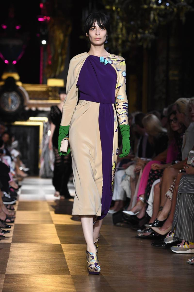 PARIS, FRANCE - JULY 02:  A model walks the runway during the Schiaparelli Haute Couture Fall Winter 2018/2019  show as part of Paris Fashion Week on July 2, 2018 in Paris, France.  (Photo by Pascal Le Segretain/Getty Images)