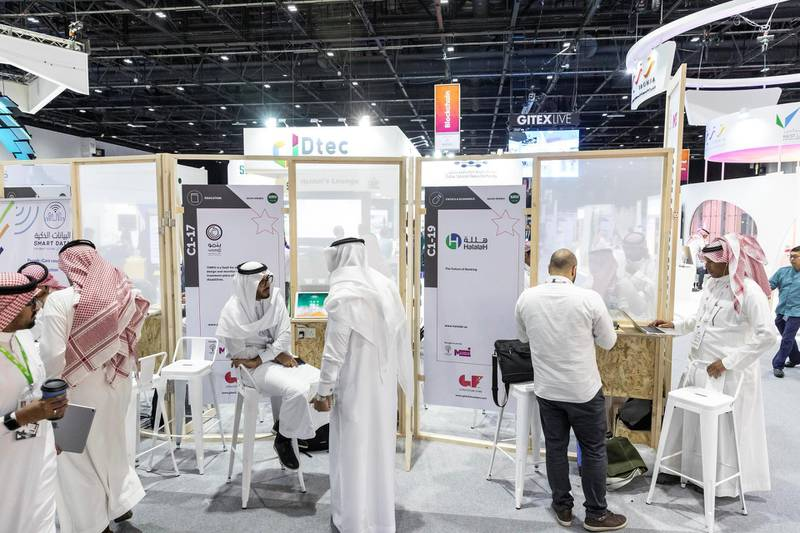 DUBAI, UNITED ARAB EMIRATES. 14 OCTOBER 2018. General show room floor image of GITEX 2019 at the World Trade Center. (Photo: Antonie Robertson/The National) Journalist: Patrick Ryan. Section: National.