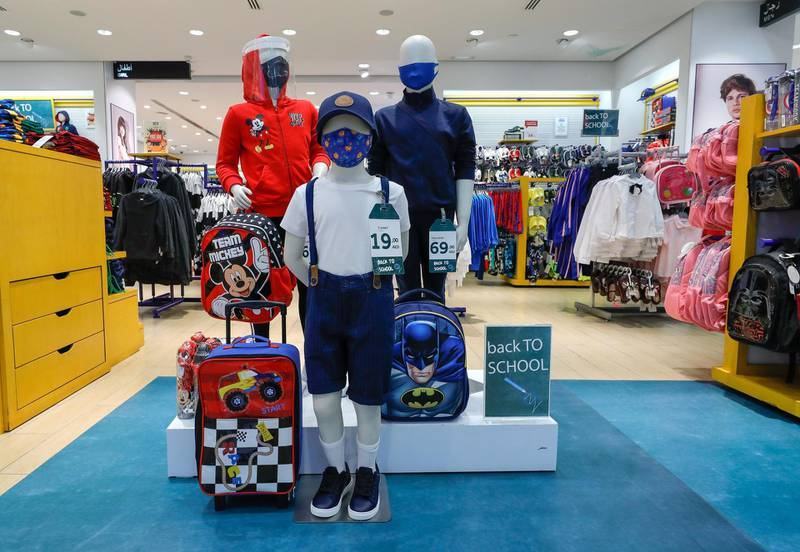 Abu Dhabi, United Arab Emirates, August 23, 2020.   Children's face masks  and face sheilds for sale at LC Waikiki shop in Al Wahda Mall, Abu Dhabi.Victor Besa /The NationalSection:  NAReporter: