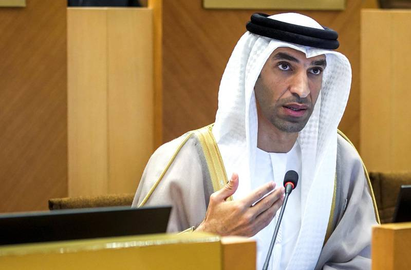Abu Dhabi, United Arab Emirates, March 3, 2020.  Federal Natinal Council meeting at the Al Khubeirah Garden.  Thani Ahmed Al-Zeyoudi, Minister of Climate Change and Environment during the Tuesday meeting. Victor Besa / The National Section:  NA Reporter:  Haneen Dajani