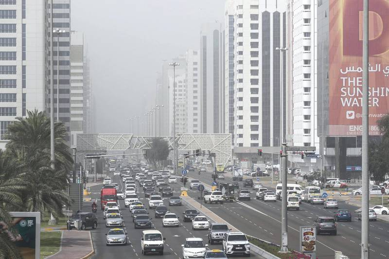 DUBAI, UNITED ARAB EMIRATES. 12 FEBRUARY 2018. Hazy weather across the capital as high winds raise dust storm conditions. (Photo: Antonie Robertson/The National) Journalist: None. Section: Standalone.