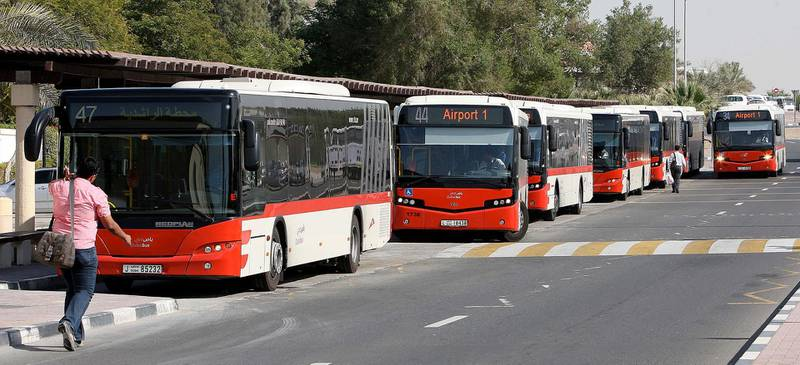 DUBAI, UNITED ARAB EMIRATES Ð Feb 2: Some of the RTA buses parked at the Rashidiya bus station in Dubai. (Pawan Singh / The National) For News. Story by Eugene *** Local Caption ***  PS0202- BUS STATION07.jpg
