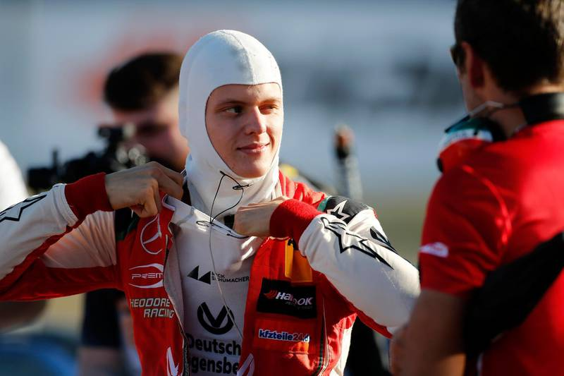 TOPSHOT - Germany's Mick Schumacher of Prema Theodore Racing prepares to race to win the Formula 3 European title on Germany's Hockenheim circuit on October 13, 2018.  - Germany OUT  / AFP / dpa / Thomas Suer