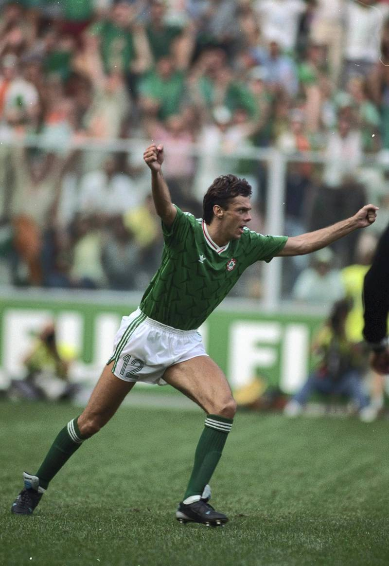 25 Jun 1990:  David O''Leary of Ireland celebrates scoring the winning goal in the penalty shoot-out during the World Cup match against Romania in Genoa, Italy. The match ended in a 0-0 draw but Ireland won 5-4 on penalties. \ Mandatory Credit: Allsport UK/Allsport