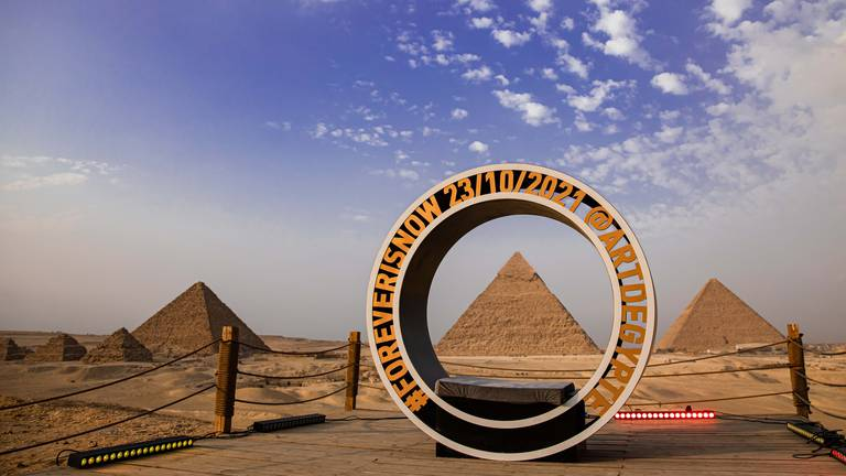 An image that illustrates this article The 10 massive artworks on display at the Pyramids of Giza