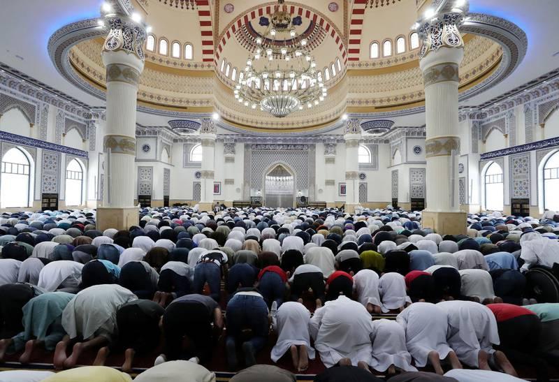 Dubai, United Arab Emirates - May 10, 2019: Friday prayers take place at Al Farooq Omar Bin Al Khattab Mosque during Ramadan. Friday the 10th of May 2019. Al Safa, Dubai. Chris Whiteoak / The National