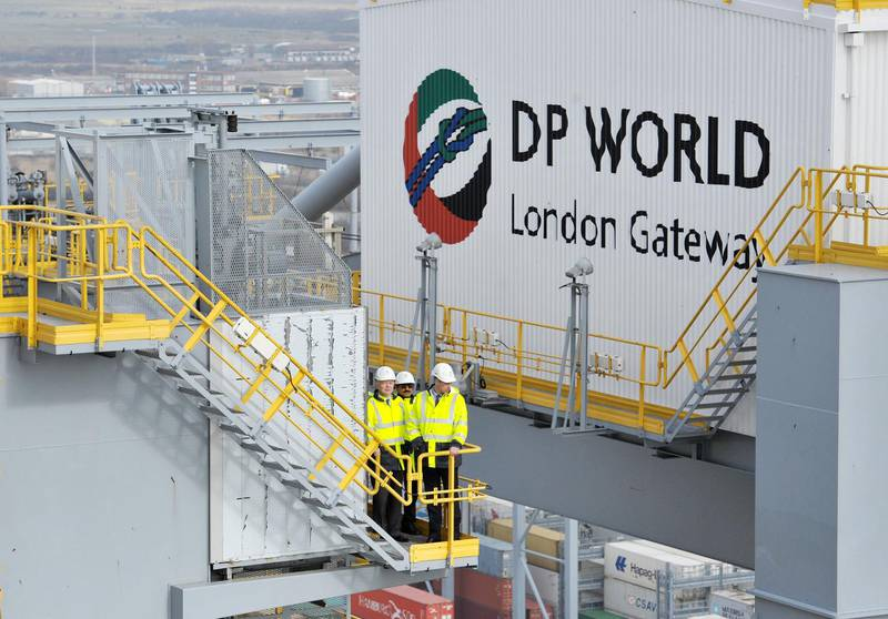 LONDON, ENGLAND - MARCH 14: Prince William, Duke of Cambridge (right) and William Hague (left), look out as they stand on a gantry atop one of the ship container cranes, with with DP World chairman Sultan Ahmed Bin Sulayem during a visit to DP World London Gateway on March 14, 2016 in Stanford-le-Hope, in Essex. The visit is to highlight an agreement that has been reached with the transport sector to crack down on global wildlife trafficking routes. (Photo by Nick Ansell - WPA Pool/Getty Images)