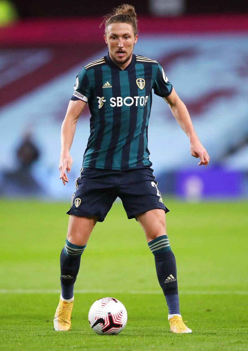 BIRMINGHAM, ENGLAND - OCTOBER 23: Luke Ayling of Leeds United controls the ball during the Premier League match between Aston Villa and Leeds United at Villa Park on October 23, 2020 in Birmingham, England. Sporting stadiums around the UK remain under strict restrictions due to the Coronavirus Pandemic as Government social distancing laws prohibit fans inside venues resulting in games being played behind closed doors. (Photo by Nick Potts - Pool/Getty Images)