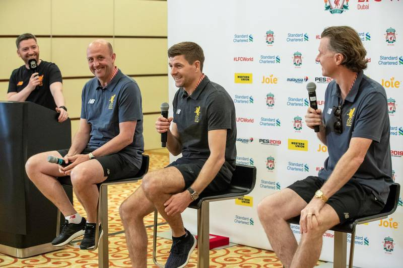 DUBAI, UNITED ARAB EMIRATES. 10 MAY 2018. Standard Chartered Presents LFC (Liverpool Football Club) World Dubai event at a press conference at The Westin. Seated fropm left to right is Gary McAllister, Steven Gerrard & Steve McManaman. (Photo: Antonie Robertson/The National) Journalist: John McAuley. Section: Sport.