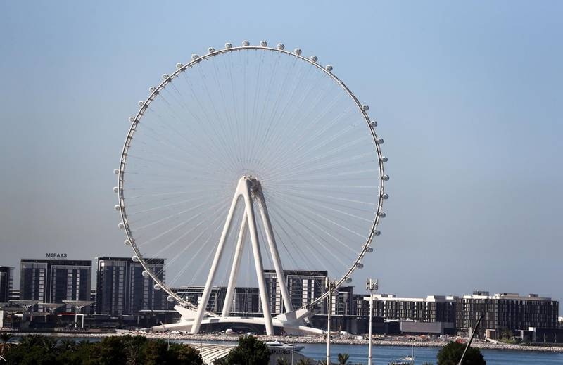 DUBAI, UNITED ARAB EMIRATES , October 28– 2020 :- More passenger capsules installed on the Ain Dubai observation wheel at the Bluewaters Island in Dubai. (Pawan Singh / The National) For News/Online/Instagram/Big Picture