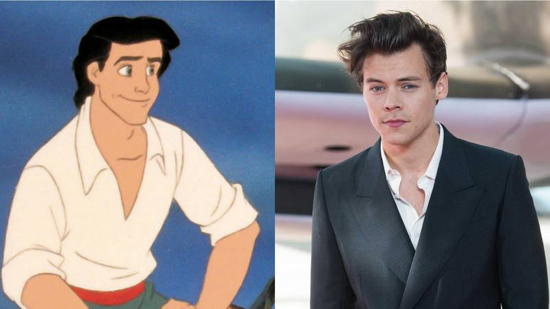 Prince Eric in Disney's The Little Mermaid and harry Style. Disney and Getty Images