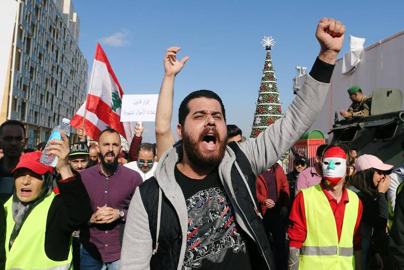 A man gestures as he takes part in a protest over the Lebanon's economy and politics in Beirut, Lebanon December 23, 2018. REUTERS/Mohamed Azakir
