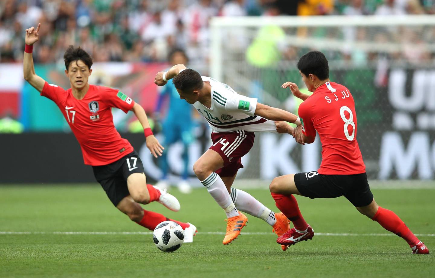 ROSTOV-ON-DON, RUSSIA - JUNE 23:  Javier Hernandez of Mexico challenge for the ball with Ju Se-Jong and Lee Jae-Sung of Korea Republic during the 2018 FIFA World Cup Russia group F match between Korea Republic and Mexico at Rostov Arena on June 23, 2018 in Rostov-on-Don, Russia.  (Photo by Clive Brunskill/Getty Images)