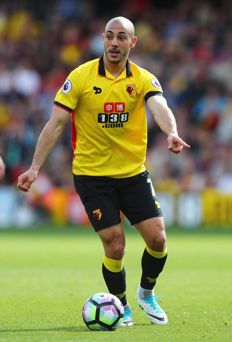 WATFORD, ENGLAND - APRIL 01: Nordin Amrabat of Watford in action during the Premier League match between Watford and Sunderland at Vicarage Road on April 1, 2017 in Watford, England.  (Photo by Clive Rose/Getty Images)