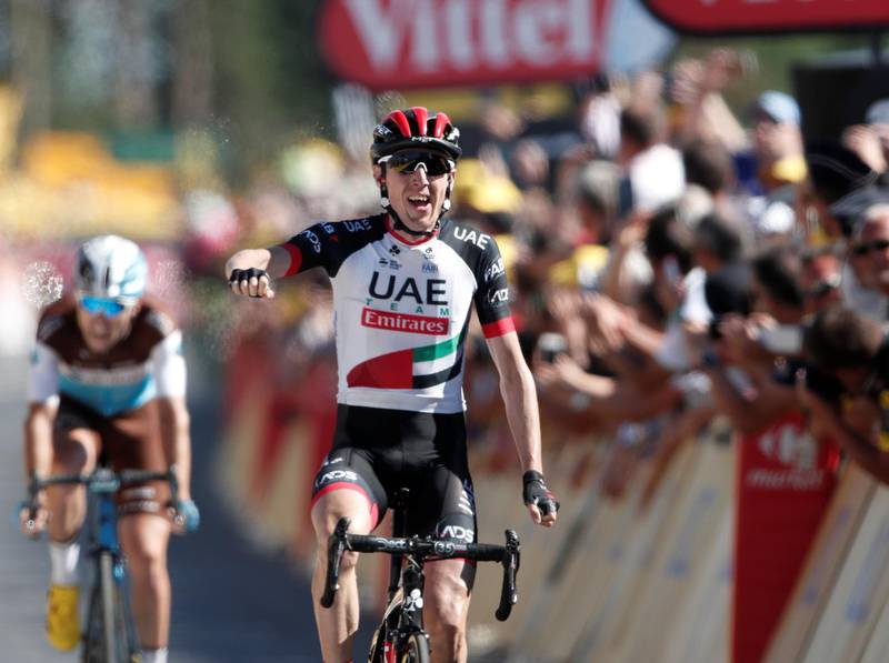 Cycling - Tour de France - The 181-km Stage 6 from Brest to Mur-de-Bretagne Guerleden - July 12, 2018 - UAE Team Emirates rider Daniel Martin of Ireland wins the stage ahead of AG2R La Mondiale rider Pierre Latour of France. REUTERS/Benoit Tessier
