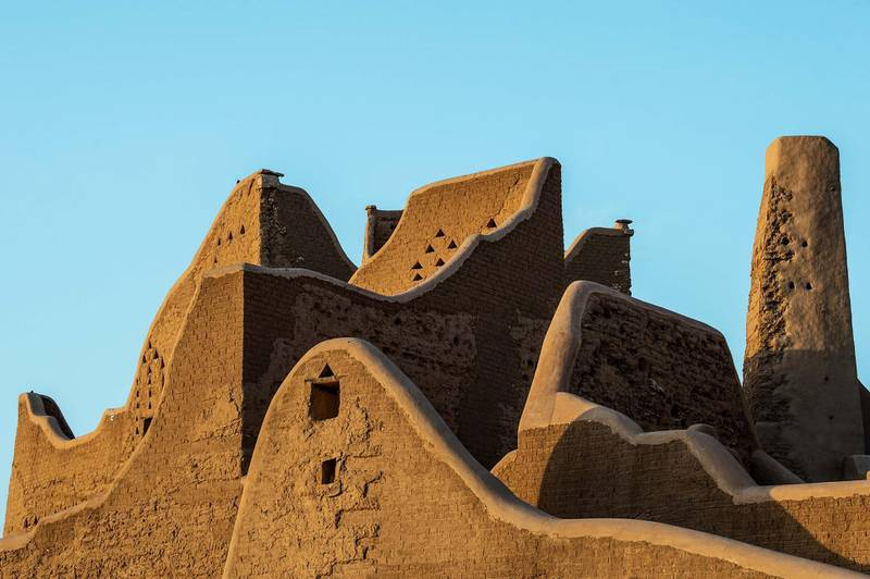 Silhouette of UNESCO World Heritage Site At-Turaif in Ad Diriyah. Photo by THAMER AL AHMADI