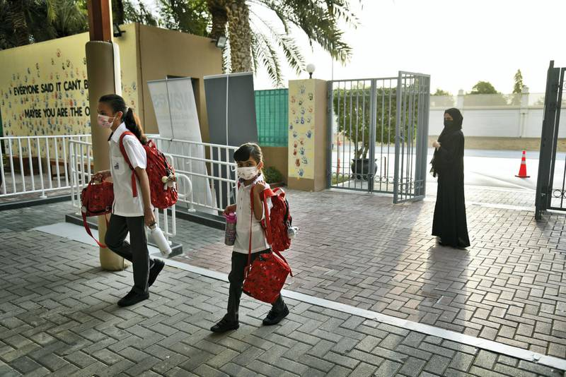 Students return to the Al-Mizhar American Academy for Girls after months after the government re-opens schools in the wake of Covid-19 pandemic in Dubai, UAE, Sunday, Aug. 30, 2020. (Photos by Shruti Jain - The National)