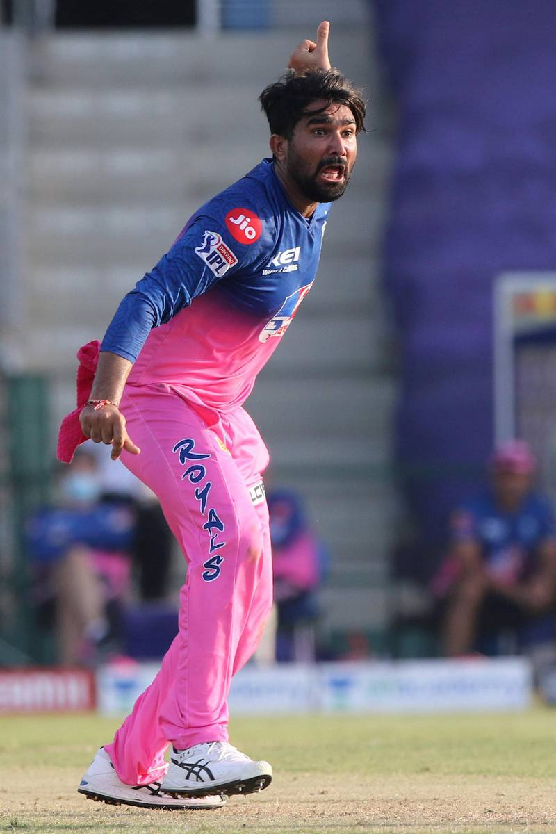 Rahul Tewatia of Rajasthan Royals appeals during match 15 of season 13 of Indian Premier League (IPL) between the Royal Challengers Bangalore and the Rajasthan Royals at the Sheikh Zayed Stadium, Abu Dhabi  in the United Arab Emirates on the 3rd October 2020.  Photo by: Pankaj Nangia  / Sportzpics for BCCI