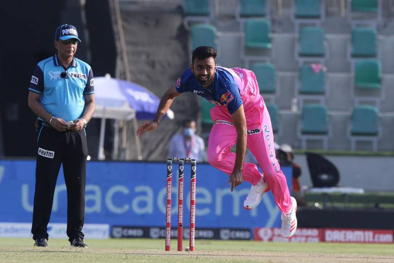 Jaydev Unadkat of Rajasthan Royals bowls during match 15 of season 13 of Indian Premier League (IPL) between the Royal Challengers Bangalore and the Rajasthan Royals at the Sheikh Zayed Stadium, Abu Dhabi  in the United Arab Emirates on the 3rd October 2020.  Photo by: Pankaj Nangia  / Sportzpics for BCCI
