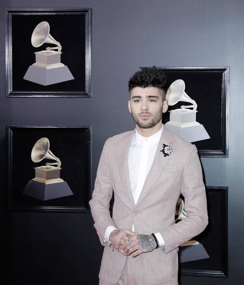 epa06482907 Zayn Malik arrives for the 60th annual Grammy Awards ceremony at Madison Square Garden in New York, New York, USA, 28 January 2018.  EPA-EFE/JASON SZENES