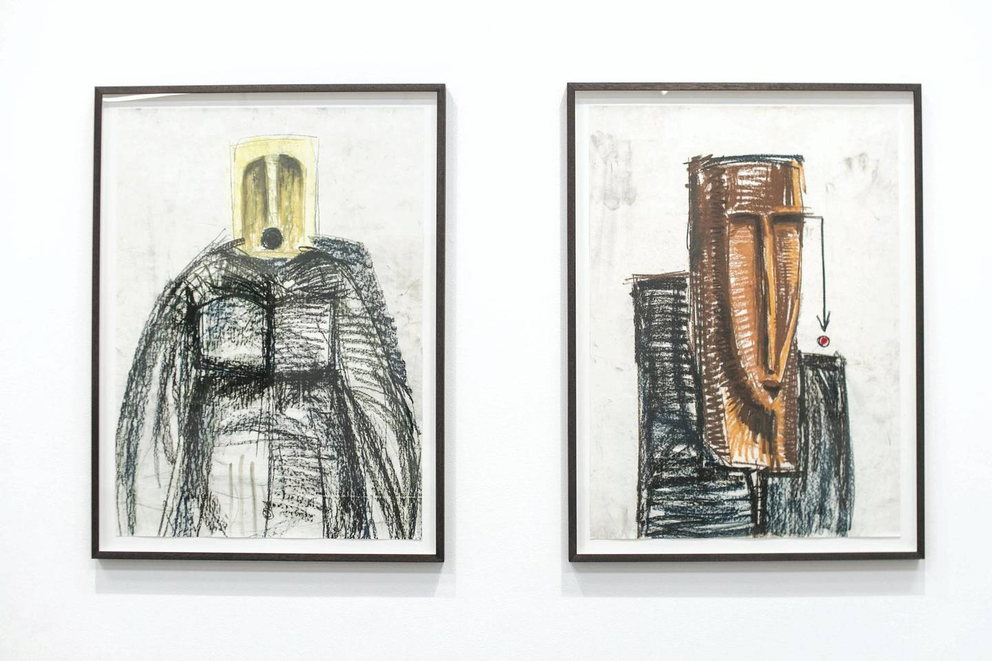 DUBAI, UNITED ARAB EMIRATES - Jan 24, 2018. Artworks by Ghanaian artist Serge Attukwei Clottey, at Lawrie Shabibi in Alserkal Avenue.Serge Attukwei Clottey shows a new series of pastel drawings on paper, depicting disjointed figures and faces - not unlike the visions of nude women under Cubism, a European movement which drew heavily from traditional African tribal sculpture. Introducing colour, the pieces mark a departure from Clottey's previous charcoal works. Also on display are Clottey's wall-based sculptures created from yellow gallon containers - bold assemblages that act as a means of inquiry into the languages of form and abstraction. Alongside these sculptures and drawings, Clottey presents a video installation, 'The Displaced', enacting the trade and migration story of the Clottey family; together with his performance collective GoLokal, Clottey embarks on a symbolic journey of remembrance on Labadi Beach, Accra.(Photo by Reem Mohammed/The National)Reporter: MelissaSection: AC