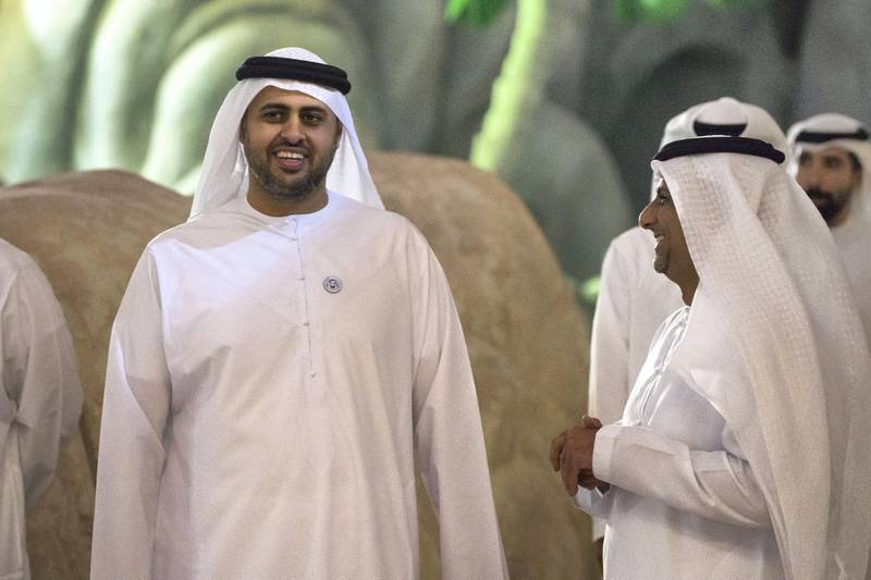 YAS ISLAND, ABU DHABI, UNITED ARAB EMIRATES -  March 1, 2018: HH Sheikh Theyab bin Mohamed bin Zayed Al Nahyan, Chairman of the Department of Transport, and Abu Dhabi Executive Council Member (L), and HE Jassem Mohamed Bu Ataba Al Zaabi Chairman of Abu Dhabi Executive Office and Abu Dhabi Executive Council Member (R), inspect construction of Warner Bros World Abu Dhabi.  ( Ryan Carter for the Crown Prince Court - Abu Dhabi ) ---