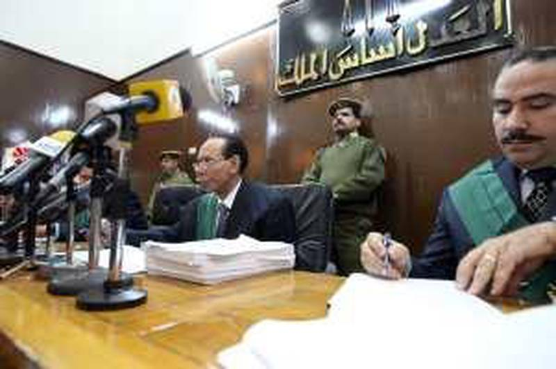 Judges preside over a court case in an Egyptian courtroom. Victoria Hazou