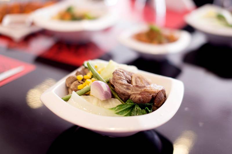 DUBAI, UNITED ARAB EMIRATES, MAY 12, 2016. Bulalo, a Filipino beef dish, served at The Hub 7.The Hub 7, at JLT's Cluster M, boasts seven cuisines and seven chefs under one roof. The seven cuisines are: Japanese, Chinese, Filipino, Indian, Pakistani, Italian and a Bakery section.Photo: Reem Mohammed/ The National (Reporter:Stacie Overton Johnson / Section: AL) Job ID 73871 *** Local Caption ***  RM_20160513_HUB_26.JPG