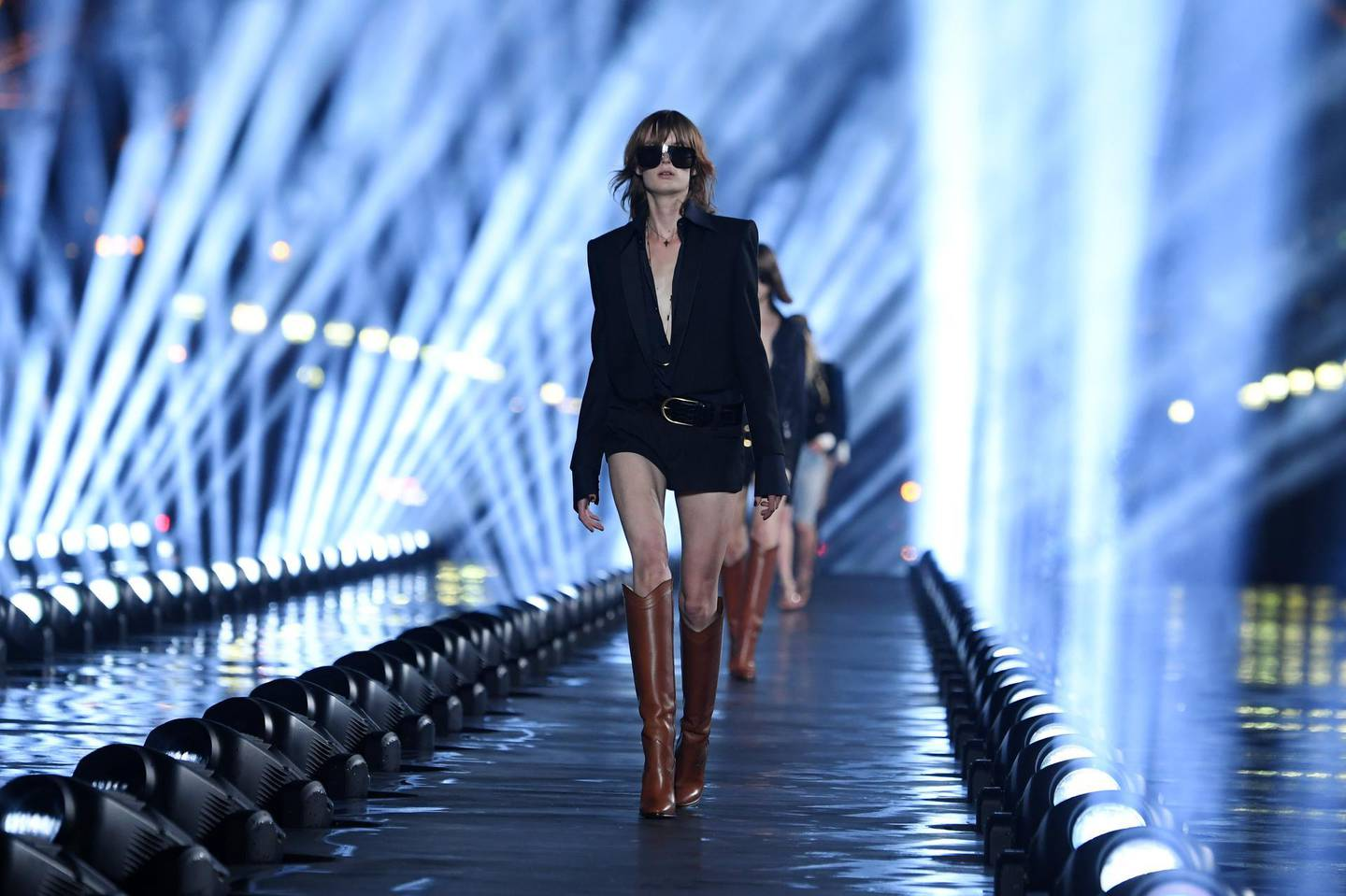 PARIS, FRANCE - SEPTEMBER 24: A model walks the runway during the Saint Laurent Womenswear Spring/Summer 2020 show as part of Paris Fashion Week on September 24, 2019 in Paris, France. (Photo by Pascal Le Segretain/Getty Images)