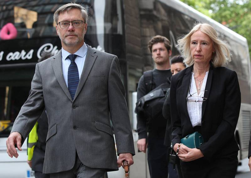 John Letts and Sally Lane, the parents of Jack Letts, dubbed Jihadi Jack, arrive at the Old Bailey, London. The couple are charged with three counts of funding terrorism for sending money to their Muslim convert son after he joined Islamic State.