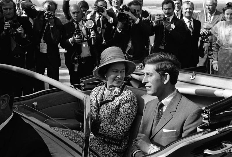 Queen Elizabeth II and Charles, Prince of Wales travel in an open top car in Avignon during a state visit to France, May 1972. (Photo by Reg Lancaster/Express/Hulton Archive/Getty Images)