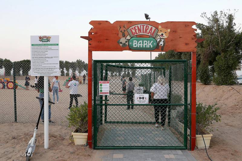 DUBAI, UNITED ARAB EMIRATES, December 10 – Entrance gate of the Central Bark (dog park) in DAMAC Akoya Oxygen in Dubai. (Pawan Singh / The National) For Lifestyle/Online/Instagram. Story by Hayley