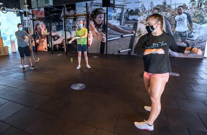 Abu Dhabi, United Arab Emirates, July 1, 2020.  CrossFit class at Vogue Fitness Yas Marina, Abu Dhabi.Victor Besa  / The NationalSection:  NA Reporter:  Haneen Dajani
